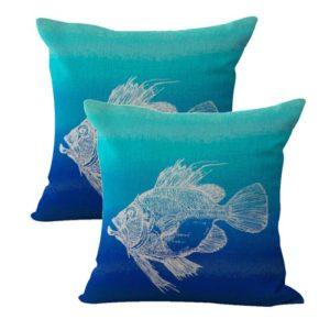 set of 2 ocean beach sea fish cushion cover