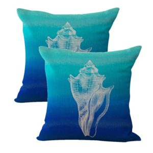 set of 2 ocean life conch shells cushion cover
