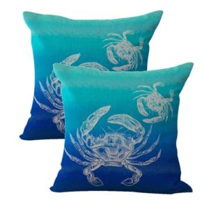 set of 2 ocean life crab mom baby cushion cover