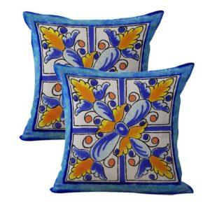 set of 2 talavera Mexican Spanish cushion cover