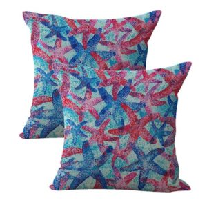 set of 2 starfish beach coastal cushion cover