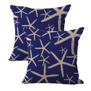 set of 2 seaside nautical starfish sea stars cushion cover