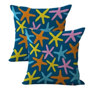 set of 2 starfish beach coastal cushion cover