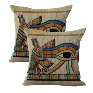 set of 2 Eye of Ra Ancient Egyptian cushion cover