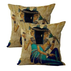 set of 2 brunette girl Ancient Egyptian art cushion cover