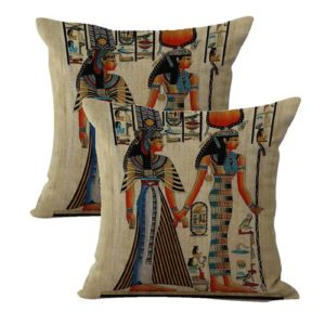 set of 2 Isis and Queen Nefertari Ancient Egyptian cushion cover