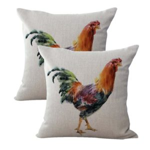 set of 2 farmhouse animal rooster chicken cushion cover