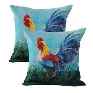 set of 2 barn rooster animal cushion cover
