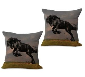 set of 2 equine horse equestrian cushion cover