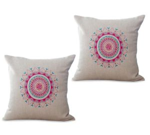 set of 2 bohemian mandala yoga meditation cushion cover