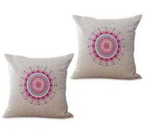 set of 2 bohemian mandala yoga meditation cushion cover