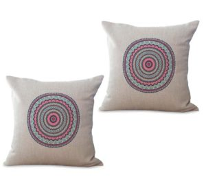 set of 2 bohemian mandala symbol of universe cushion cover