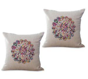 set of 2 bohemian mandala symbol of universe cushion cover