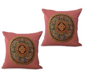 set of 2 traditional Tibetan mandala cushion cover