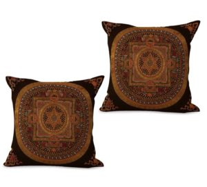 set of 2 traditional Tibetan mandala cushion cover