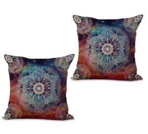 set of 2 Hinduism Buddhism symbol mandala cushion cover