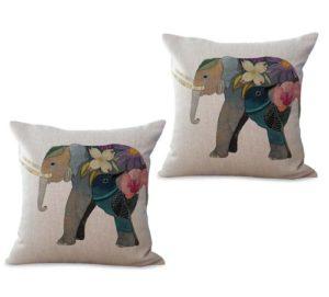 set of 2 lucky elephant animal cushion cover