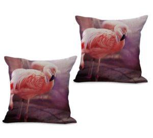 set of 2 pink flamingo bird animal cushion cover