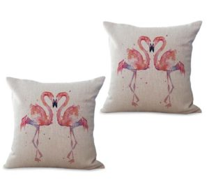 set of 2 pink flamingo couple bird animal cushion cover