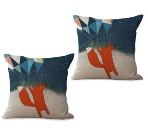set of 2 cartoon animals fox cushion cover