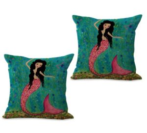 set of 2 mermaid cushion cover