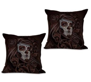 set of 2 lady sugar skull Day of the Dead Dia de Los Muertos cushion cover