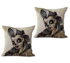 set of 2 lady sugar skull Day of the Dead cushion cover