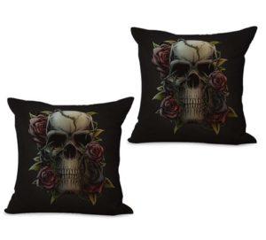 set of 2 sugar skull Dia de Los Muertos cushion cover
