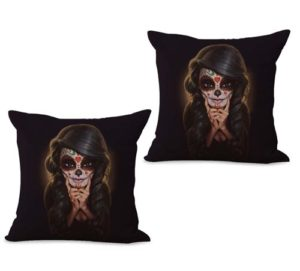 set of 2 sugar skull Dia de Los Muertos cushion cover