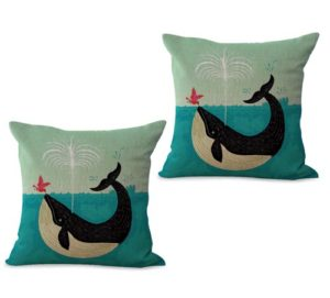 set of 2 marine nautical dolphin bird cushion cover