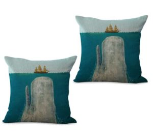 set of 2 marine nautical whale boat cushion cover