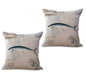 set of 2 marine nautical ocean sea life fish cushion cover
