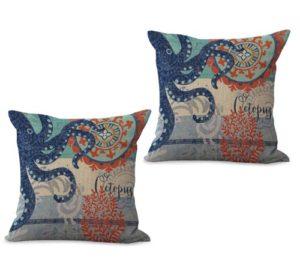 set of 2 marine nautical ocean sea life octopus cushion cover