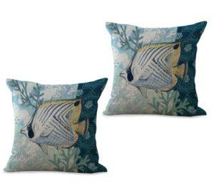 set of 2 marine nautical ocean sea life fish cushion cover