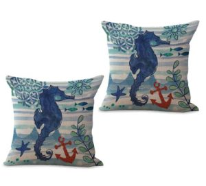 set of 2 marine nautical ocean animal seahorse cushion cover