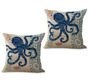 set of 2 marine nautical ocean animal octopus cushion cover