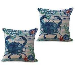 set of 2 marine nautical ocean animal crab cushion cover