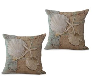 set of 2 beach coastal seashell starfish cushion cover
