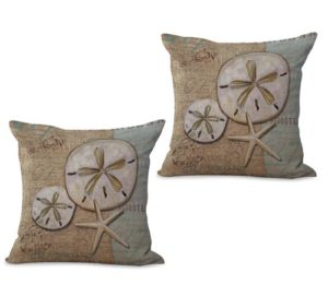 set of 2 beach coastal seashell cushion cover