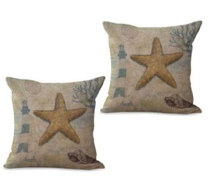 set of 2 ocean marine nautical star fish cushion cover
