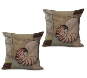set of 2 ocean marine nautical seashell cushion cover