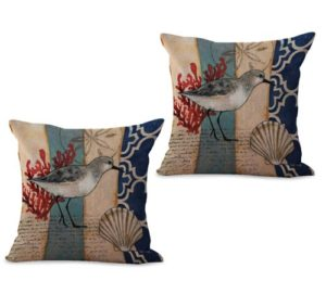 set of 2 ocean marine nautical seagull bird cushion cover
