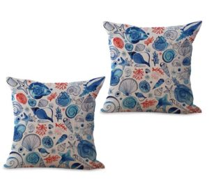 set of 2 ocean marine nautical fishes cushion cover