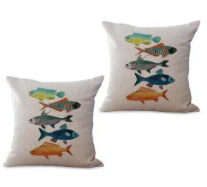 set of 2 ocean marine nautical fishes cushion cover
