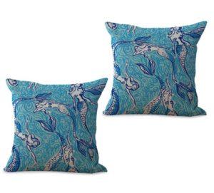 set of 2 ocean marine nautical mermaid cushion cover