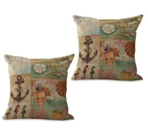set of 2 sealife marine nautical turtle anchor cushion cover