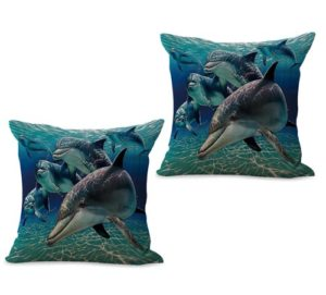 set of 2 sealife marine nautical dolphin ocean animal cushion cover