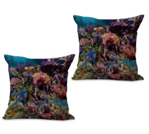 set of 2 sealife marine nautical fishocean animal cushion cover