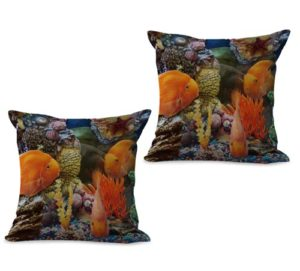 set of 2 sealife marine nautical fish ocean animal cushion cover