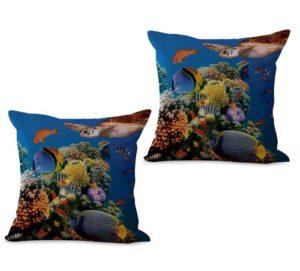 set of 2 sealife marine nautical fish ocean animal cushion cover